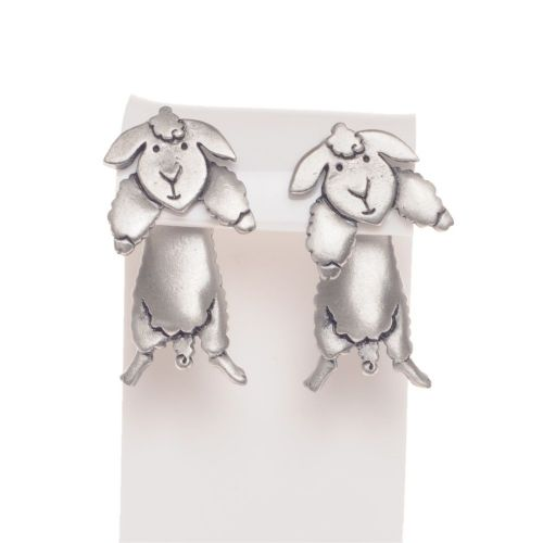Handmade Pewter Sheep Earrings